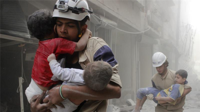 White Helmets in action