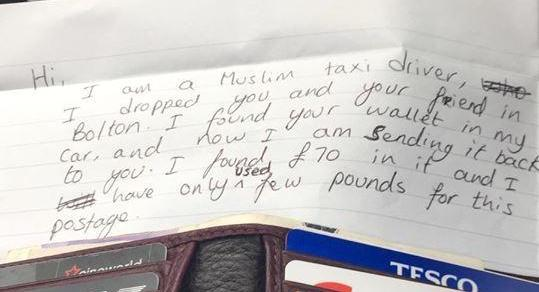 Bolton Lad on the Hunt for Muslim Taxi Driver Who Returned his Lost Wallet